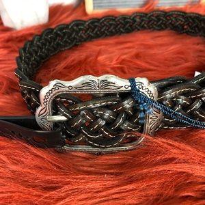 Linea Pelle Lp Blue Braided Belt Adjustabl 1917